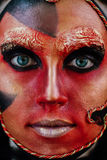 Close-up beauty red art make-up portrait of halloween woman Witch baroque. Stock Photo