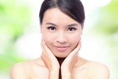 Close up of Beauty woman Face and hand touch Stock Photography
