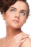 Close up beauty woman with perfect skin. Royalty Free Stock Image