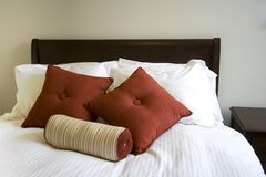Close up on a bed in a bedroom Royalty Free Stock Photo