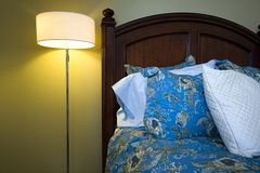 Close up on a bed in a bedroom Royalty Free Stock Photos