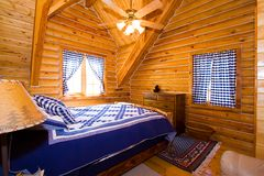 Close up on a Bedroom in a Cabin Stock Image