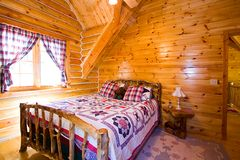 Close up on a Bedroom in a Cabin Royalty Free Stock Image