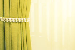 Close up of bedroom curtain with decrorated sea shell strap and stock photography