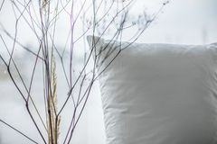 Close up bedroom view with pillow and dried plants stock photo