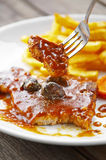 Close up beef ribs steak and sauce Royalty Free Stock Image