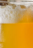 Close-up of beer and foam in a glass. Close-up of cold beer in a glass Royalty Free Stock Photo