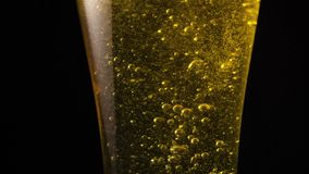 Close-up of beer glass stream in slow mo stock video