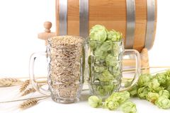 Close up of beer mugs. Royalty Free Stock Photo