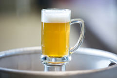 Close-up of beer pint. On keg at bewery Stock Images