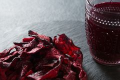 Close-up of beetroot with juice glass stock photography