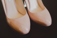 Close up of beige bridal wedding heels shoes Royalty Free Stock Image
