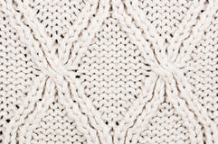 Close-up of beige knitted winter sweater with pattern Stock Image