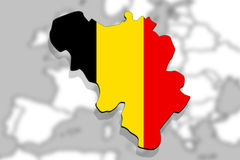 Close up on Belgium map on Europe background Royalty Free Stock Photo