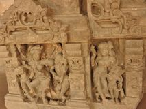 Close up of the believed 10th century carved stone in the ancient Chand Baori Step well in the village of Abhaneri, Rajasthan