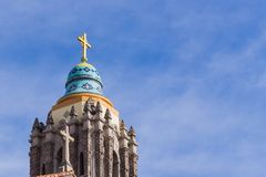 Close up of the bell tower of Saint Cecilia Catholic Church, San Francisco, California stock photography