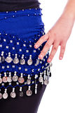 Close up of a belly dancer holding hand on hips Stock Images