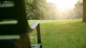 Close up of a bench in nature with sunlight stock video footage
