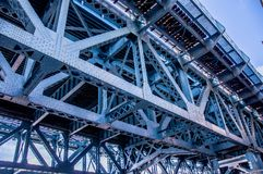 Close up of the Benjamin Franklin Bri. Close up from underneath of the Benjamin Franklin railway Bridge in Philadelphia showing the lattice work and structural Royalty Free Stock Photo