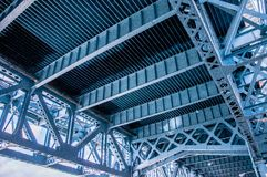 Close up of the Benjamin Franklin Bri. Close up from underneath of the Benjamin Franklin railway Bridge in Philadelphia showing the lattice work and structural Royalty Free Stock Image