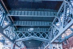Close up of the Benjamin Franklin Bri. Close up from underneath of the Benjamin Franklin railway Bridge in Philadelphia showing the lattice work and structural Stock Photography