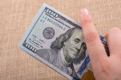 Close up of Benjamin Franklin face on US dollar Royalty Free Stock Photos
