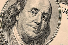 Close-up on Benjamin Franklin. Close-up portrait of Benjamin Franklin . Concept and Ideas Royalty Free Stock Photography