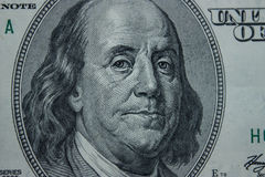 Close-up on Benjamin Franklin. Close-up portrait of Benjamin Franklin . Concept and Ideas Stock Image