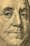Close-up on Benjamin Franklin. Close-up portrait of Benjamin Franklin . Concept and Ideas Royalty Free Stock Photos