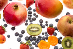 Close-up Of Berries And Other Fruit On White Royalty Free Stock Photos