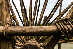 Close up of a bespoke water wheel. Made out of wood Royalty Free Stock Photo