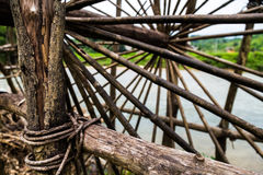 Close up of a bespoke water wheel. Made out of wood Royalty Free Stock Image