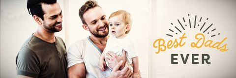 Composite image of close up of best dads ever text. Close up of best dads ever text against gay couple with child at home royalty free stock photography