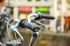 Close-up of bicycle in Amsterdam Stock Photography
