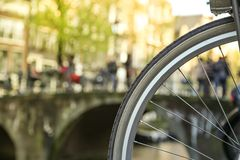 Close-up of bicycle in Amsterdam Stock Photos