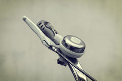 Close up bicycle bell on handlebars Royalty Free Stock Image