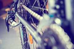 Close up of  bicycle gear and black electric motor. Close up of  a glossy  bicycle gear and black electric motor Stock Photography