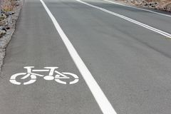 Close up of Bicycle Lane on Road Royalty Free Stock Photos