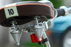 Close-up of a bicycle saddle with the number 10 royalty free stock images