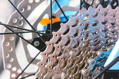 close-up Bicycle wheel and Bicycle plate Royalty Free Stock Photos