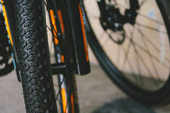 close-up Bicycle wheel and Bicycle plate Stock Photos