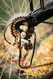 Close up of a Bicycle wheel with details. Royalty Free Stock Image