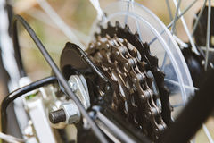 Close up of a Bicycle wheel with details. Royalty Free Stock Photos
