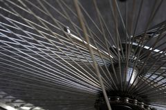 Detail of spokes from the bicycle wheel. Macro. royalty free stock photos