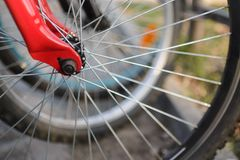 Close up of bicycle wheels stock photo