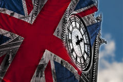 Close-up on Big Ben, the clock at the British parliament, on a c Royalty Free Stock Images