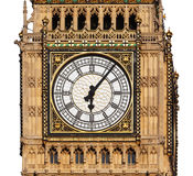 Close up of Big Ben`s Clock Face isolated on a White background Stock Image