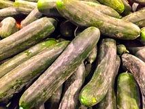 Close up of a big box of cucumbers at the super market i Stock Photo