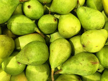Close up of a big box of pears at the super market Royalty Free Stock Image