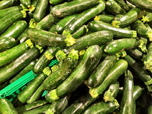 Close up of a big box of Zucchini at the super market Royalty Free Stock Image